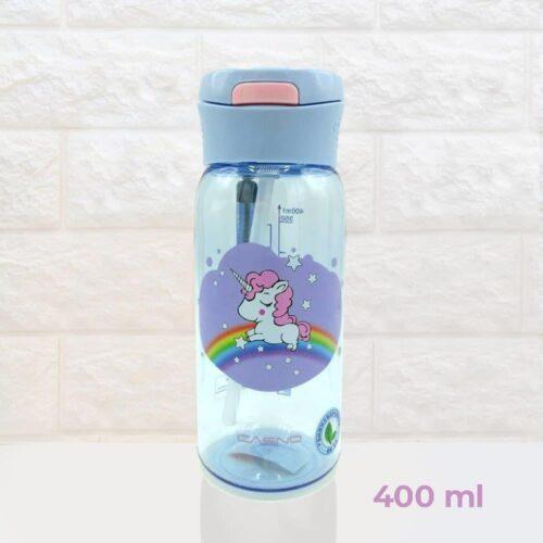 Пляшка для води CASNO 400 мл KXN-1195 Бузкова (Єдиноріг) з соломинкою фото 2