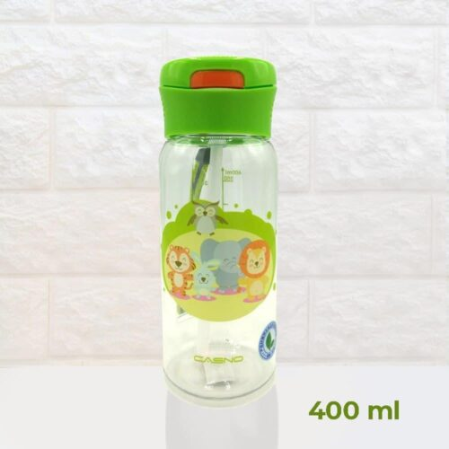 Пляшка для води CASNO 400 мл KXN-1195 Зелена (Малята-звірята) з соломинкою фото 2