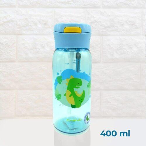 Пляшка для води CASNO 400 мл KXN-1195 Блакитна (Діно) з соломинкою фото 2