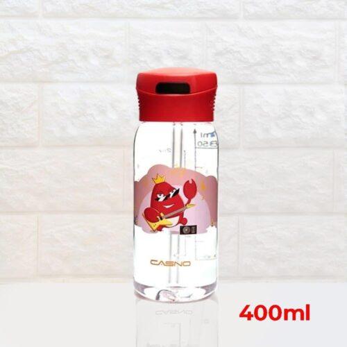Пляшка для води CASNO 400 мл KXN-1195 Червона (краб) з соломинкою фото 2