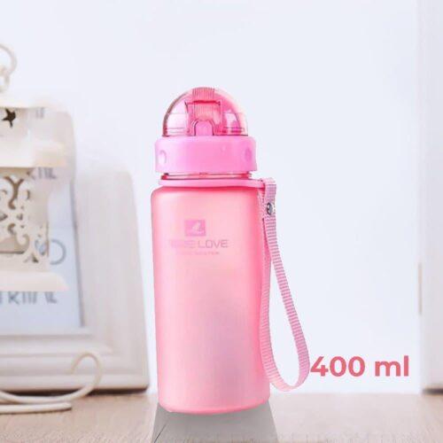 Пляшка для води CASNO 400 мл MX-5028 More Love Рожева з соломинкою фото 1