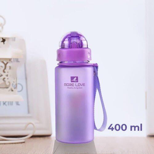 Пляшка для води CASNO 400 мл MX-5028 More Love Фіолетова з соломинкою фото 1