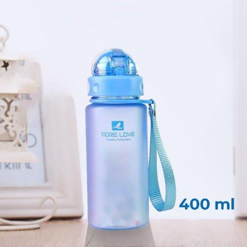 Пляшка для води CASNO 400 мл MX-5028 More Love Блакитна з соломинкою фото 1