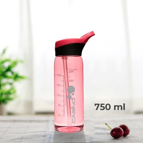 Пляшка для води CASNO 750 мл KXN-1207 Червона з соломинкою фото 1