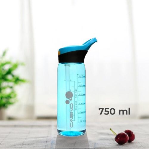 Пляшка для води CASNO 750 мл KXN-1207 Блакитна з соломинкою фото 1