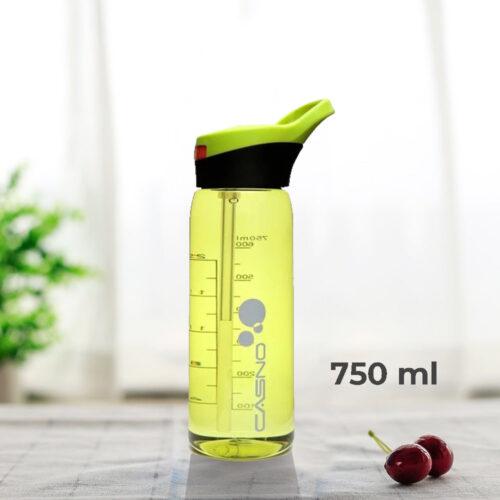 Пляшка для води CASNO 750 мл KXN-1207 Зелена з соломинкою фото 1