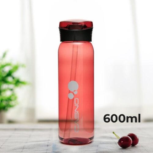 Пляшка для води CASNO 600 мл KXN-1211 Червона з соломинкою фото 1
