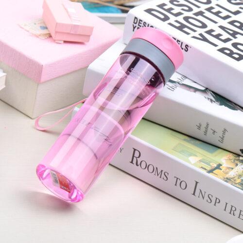 Пляшка для води CASNO 600 мл KXN-1145 Рожева + пластиковий вінчик фото 2