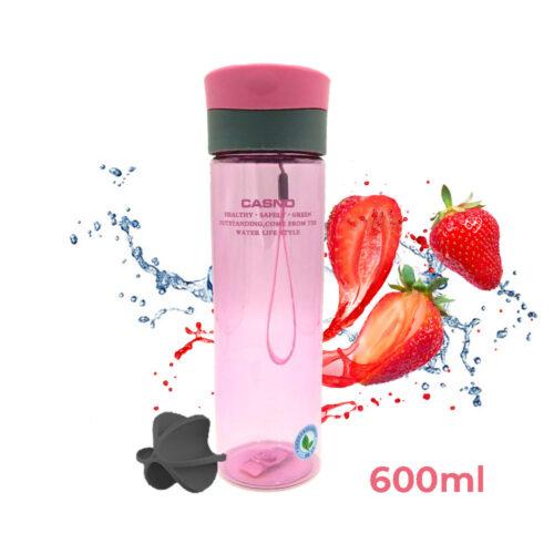 Пляшка для води CASNO 600 мл KXN-1145 Рожева + пластиковий вінчик фото 1