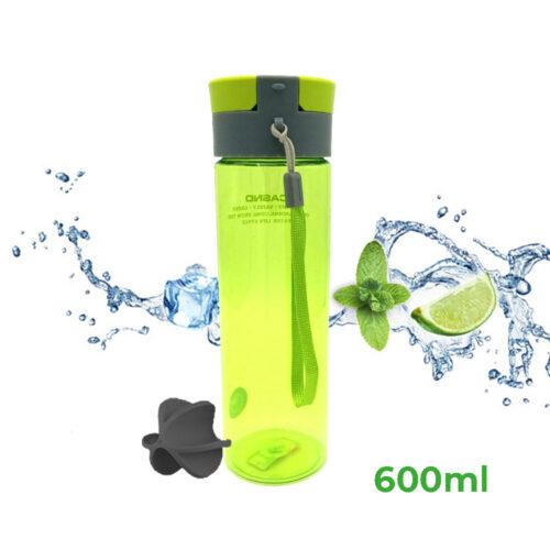 Пляшка для води CASNO 600 мл KXN-1145 Зелена + пластиковий вінчик фото 1