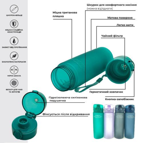 Пляшка для води CASNO 650 мл KXN-1157 Tritan Зелена фото 3