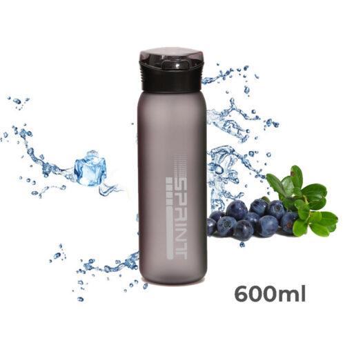 Пляшка для води CASNO 600 мл KXN-1196 Сіра з соломинкою фото 1