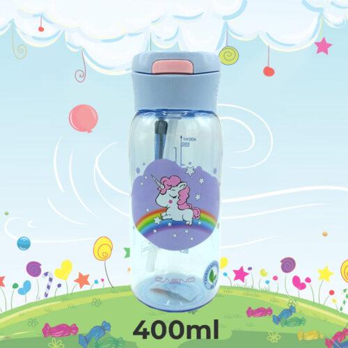 Пляшка для води CASNO 400 мл KXN-1195 Бузкова (Єдиноріг) з соломинкою фото 1