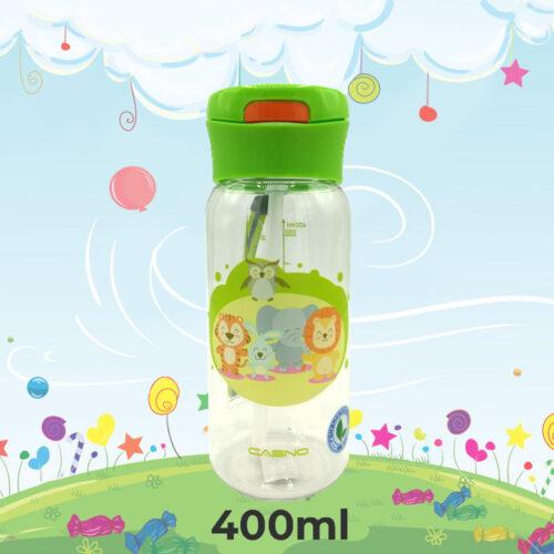 Пляшка для води CASNO 400 мл KXN-1195 Зелена (Малята-звірята) з соломинкою фото 1