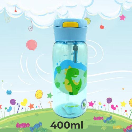 Пляшка для води CASNO 400 мл KXN-1195 Блакитна (Діно) з соломинкою фото 1
