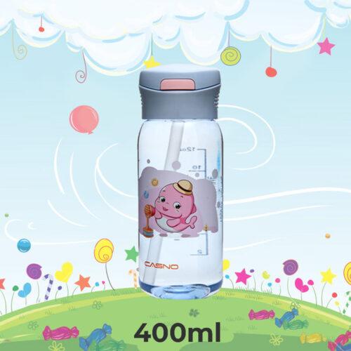 Пляшка для води CASNO 400 мл KXN-1195 Сіра (дельфін) з соломинкою фото 1