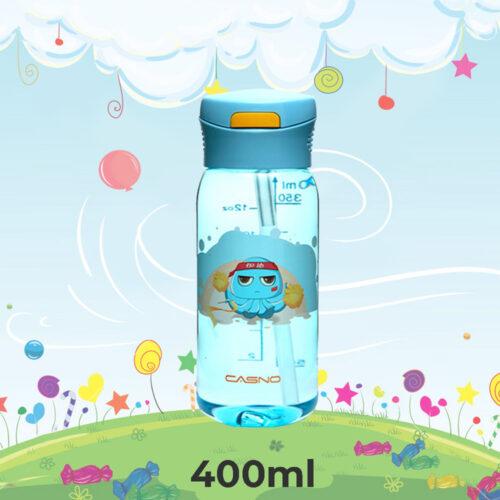Пляшка для води CASNO 400 мл KXN-1195 Синя (восьминіг) з соломинкою фото 1