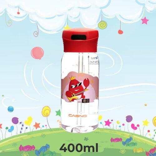 Пляшка для води CASNO 400 мл KXN-1195 Червона (краб) з соломинкою фото 1