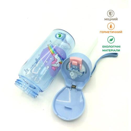 Пляшка для води CASNO 400 мл KXN-1195 Бузкова (Єдиноріг) з соломинкою фото 6