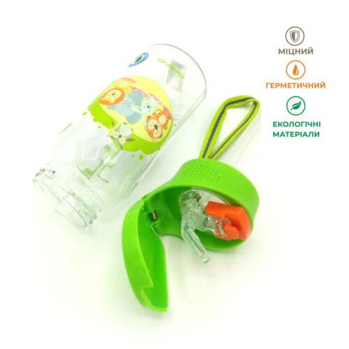 Пляшка для води CASNO 400 мл KXN-1195 Зелена (Малята-звірята) з соломинкою фото 5