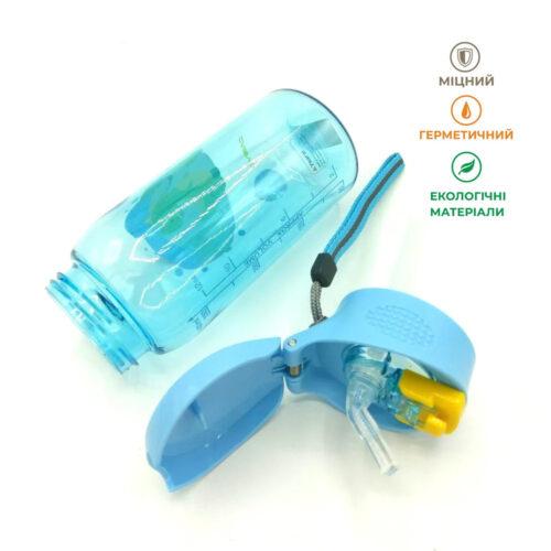 Пляшка для води CASNO 400 мл KXN-1195 Блакитна (Діно) з соломинкою фото 7