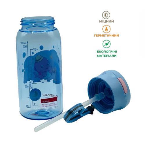 Пляшка для води CASNO 400 мл KXN-1195 Сіра (дельфін) з соломинкою фото 6