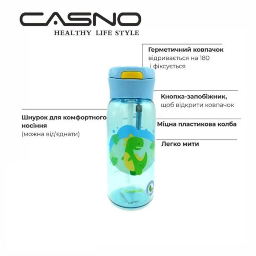 Пляшка для води CASNO 400 мл KXN-1195 Блакитна (Діно) з соломинкою фото 6