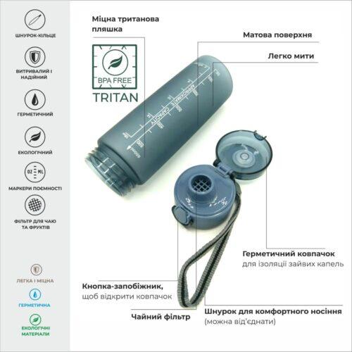 Пляшка для води CASNO 650 мл KXN-1157 Tritan Сіра фото 3