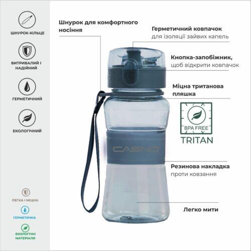 Пляшка для води CASNO 400 мл KXN-1104 Tritan Синя фото 3