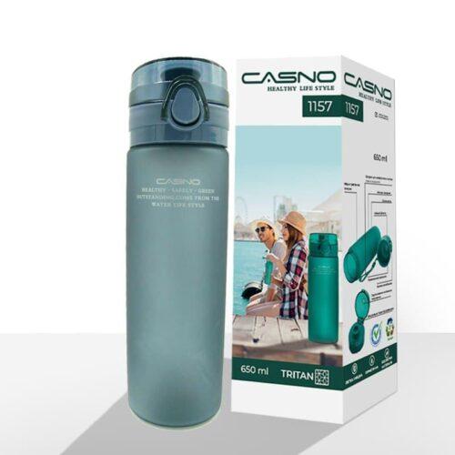 Пляшка для води CASNO 650 мл KXN-1157 Tritan Сіра фото 2