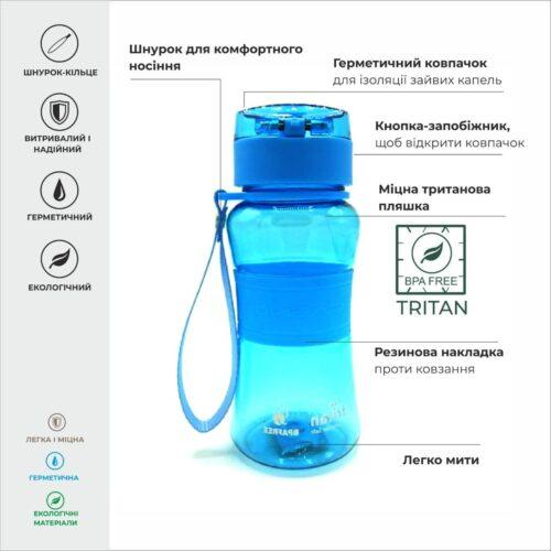 Пляшка для води CASNO 400 мл KXN-1104 Tritan Блакитна фото 3