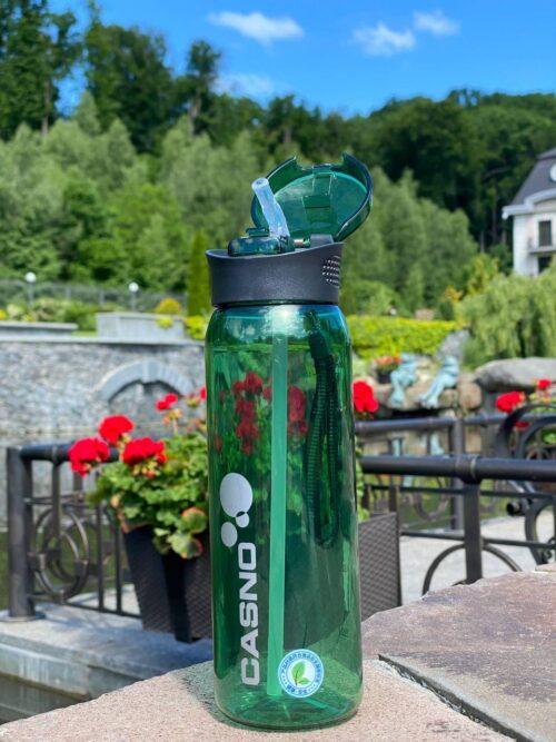 Пляшка для води CASNO 600 мл KXN-1196 Зелена з соломинкою фото 7